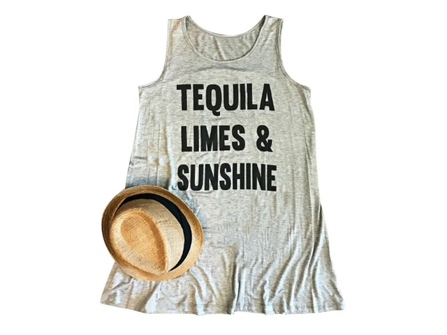 Tequila Limes And Sunshine Funny Letter Print Tees Summer Graphic Tank Top | free-classifieds-usa.com