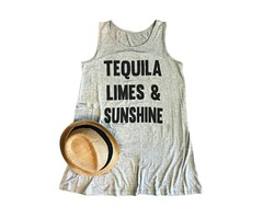Tequila Limes And Sunshine Funny Letter Print Tees Summer Graphic Tank Top