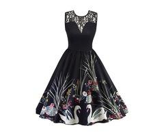 Tidebuy Hollow Sleeveless Print Skater Dress