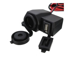 2.1A Waterproof Motorcycle USB Power Cigarette Lighter Socket For Phone GPS MP3