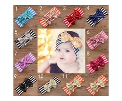 11 Color New Fashion girls Bow stripe headbands baby sequins bowknot headband girls Striped cotton h