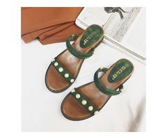 PU Beads Open Toe Slip-On Womens Flat Sandals