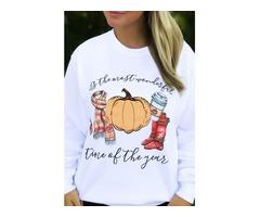 Autumn Long Sleeve O Neck Halloween Pumpkin Print Loose Pullover Sweatshirt