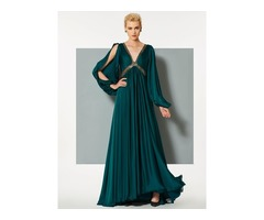 Unique A-Line Backless Empire Sequins V-Neck Long Sleeves Sweep Train Evening Dress