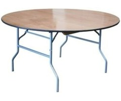 Round Plywood Folding Tables - Larry Hoffman Chair