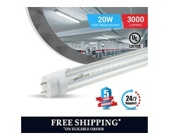 T8 4ft 20W LED Tube Glass 5000K Clear Single Ended power 1-Pack