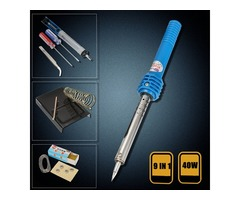 9 in1 40W Electric Solder Starter Tool Kit Set Iron Stand Desolder Pump