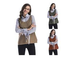 Women's Round Neck Hem Split Knit Sweater Vest with Pocket