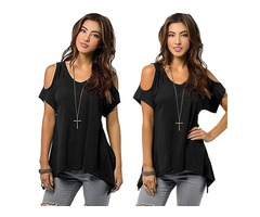 Short Sleeve Crew Neck Cold Shoulder Back Cut Out Wide Hem Tops T Shirt