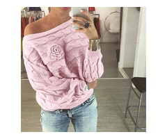 Winter Off Shoulder Sweater Women Pullover Floral Crocheted Knitted Sweater
