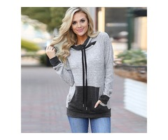 Autumn Winter Color Splicing Fit Pullover Hoodie Tops