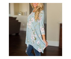 Floral Printed Long Sleeve Tunic Blouse