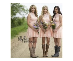 Lace Short Bridesmaid Dresses High Neck Sleeveless Open Back Sequins Pink Bridesmaid Gowns Back