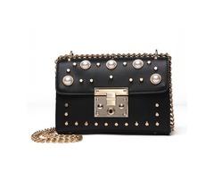 Fashion Pearl Rivet Adornment Crossbody Bag