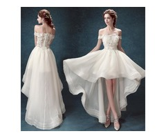 Knee Length Wedding Dresses High Low Short Beach Off The Shoulder Lac With Short Sleeves Plus S