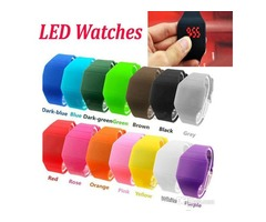 Digital LED Sport Watch Candy Colors Rubber Gel jelly Unisex Students Electronic Silicone Strap wris