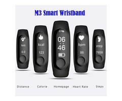 M3 Smart Wristband Bracelet Heart Rate/Blood Pressure Monitor Pulse watch Fitness OLED Tracker For I