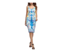 Tidebuy Print Sleeveless Long Bodycon Dress