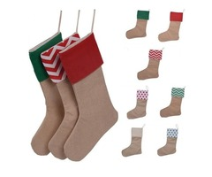 Christmas Canvas Stocking Gift Bag Stocking 30*45cm Christmas Tree Decoration Socks Xmas Stockings 7