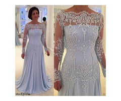 New Long Sleeves Formal Mother Of The Bride Dresses Off Shoulder Appliques Lace Pearls Mother D