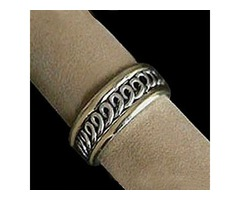 Solid Sterling Silver & 18kt Gold Band Ring For $125