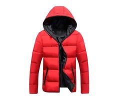 Plain Hood Zip Thicken Warm Mens Coat