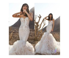 2018 Pnina Tornai Mermaid Wedding Dresses Spaghetti Backless Lace Bridal Gowns With Beads Sweep Trai