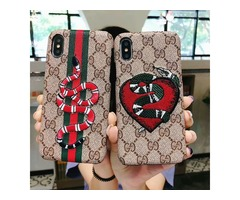 Snake Embroidery Smartphone Case for IPhone X 8 7 6 Plus Fashion Back Skin Shell Cover English Logo