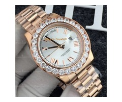 Free shipping watches 44mm men gold luxury Roman numerals brand diamond watch men automatic AAA sapp