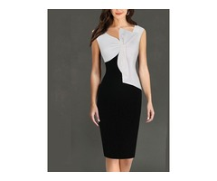 Tidebuy Pencil Bowknot Color Block Womens Bodycon Dress