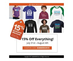 15% off all T-shirts from July 31 to Aug 4, 2019!