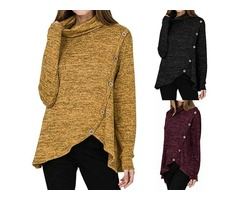 Cowl Neck Long Sleeves Button Decor Asymmetric Hem Tops Blouse Solid Color Casual Shirt