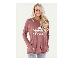 Mama Bear Printed Pockets Shirt Blouse Tops