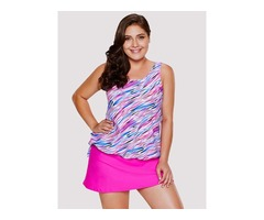 Floral Print Conservative Style Tankini Two Pieces Swimsuit