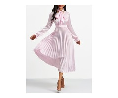 Tidebuy Bow Collar Pullover Womens Skater Dress