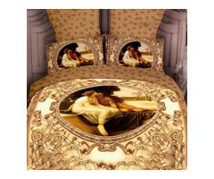 Comfortable 4 Piece Luxury Yellow Famous Painting Print Bedding Sets