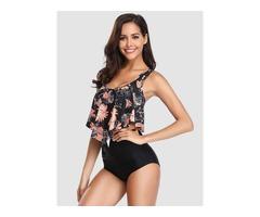 Stap Two Piece Bikini Set Floral Print Bathing Swimsuit