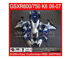 8Gifts 23Colors Body For SUZUKI GSX-R750 GSXR600 GSXR750 06 07 gloss blue 10HM72 GSX R600 R750 K6 GS