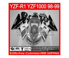 gloss grey 8gifts Body For YAMAHA YZFR1 98 99 YZF1000 YZF-R1 98-99 90NO81 YZF 1000 YZF-1000 YZF R 1