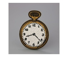 Clock Custom Embroidered Patches No Minimum