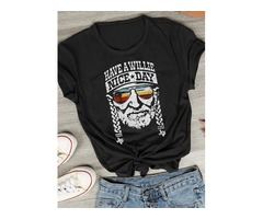 Men Unisex Fashion Old Man Head Print HAVE A WILLIE NICE DAY Letter Print Round Neck Short Sleeve Co