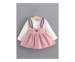 Lovely Rabbit Suspenders Patchwork Baby Girls Dress