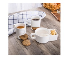 Ceramic Milk Cups with Biscuit Holder Dunk Cookies Coffee Mugs Storage for Dessert Christmas Gifts C