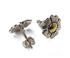 Sterling Silver & 18kt Gold Tudor Rose Stud Earrings For $55