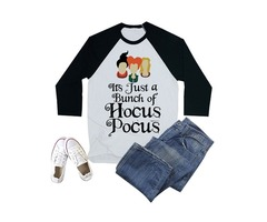 It's Just a Bunch of Hocus Pocus Print T-shirt 3/4 Sleeve Round Neck Top
