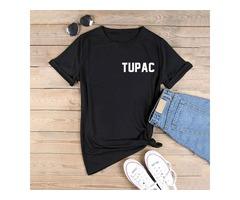 T Shirts Shakur 96 T-shirt Tupac Shakur Streetwear Shirts Hip-hop Rap Short Sleeve Rock Band T Shirt