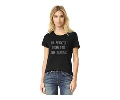 T Shirt I'M SILENTLY CORRECTING Your Grammar Letter Print Street Style Round Neck Casual T shirt