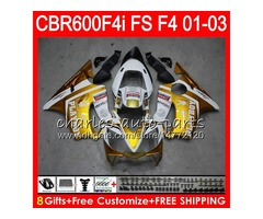 8Gifts 23Colors For HONDA CBR 600F4i 01-03 CBR600FS FS 28NO119 Gold white CBR600 F4i CBR 600 F4i CBR