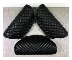 351178 7004 351178 Black Lambskin Caviar Leather Clutch Bag Evening Party Bag Timeless Quilted Clutc