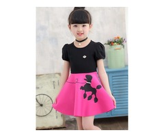 Above Knee Color Block Puff Sleeve Girls Dress | free-classifieds-usa.com